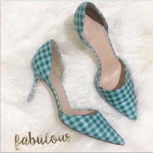 J. Crew green & plaid fabric heels size 7